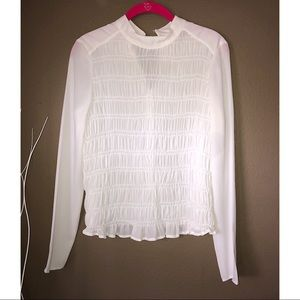 H&M   Ruffle Stretch Smocked Top Front Blouse